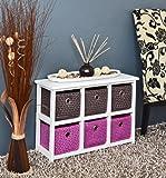 ts-ideen Kommode Nachttisch Sideboard Schrank 62 x 43 cm Bad Regal Weiß mit 2 x 3 bunte Körbe für Kinderzimmer, Büro, Bad, Flur und Babyzimmer