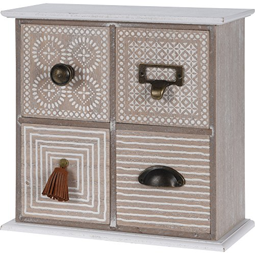 Home 4 Schubladen Kommode (Mini Holz Kommode aus Holz mit 4 Schubladen (25x25x12 cm))