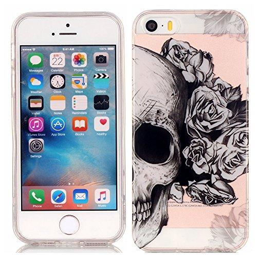 Pour iPhone 5 5S 5G / iPhone SE Coque,Ecoway Housse étui en TPU Silicone Shell Housse Coque étui Case Cover Cuir Etui Housse de Protection Coque Étui iPhone 5 5S 5G / iPhone SE –crâne