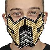Kandi Gear Gold Sub Zero Mortal Kombat V1 Full Kandi Mask by, rave mask, halloween mask, beaded mask, bead mask for music fesivals and parties