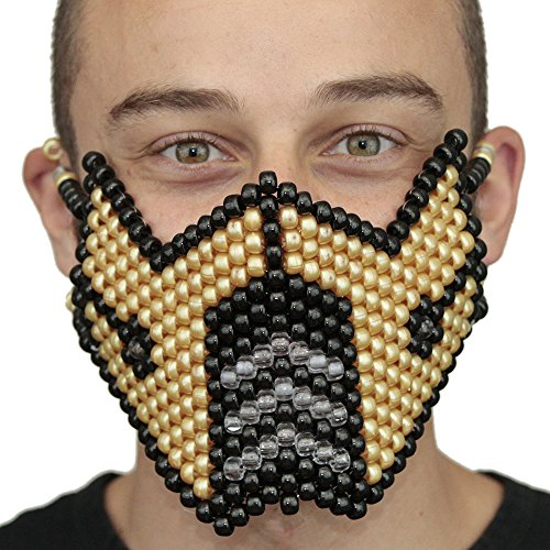 Kandi Gear Gold Sub Zero Mortal Kombat V1 Full Kandi Mask by, rave mask, halloween mask, beaded mask, bead mask for music fesivals and parties