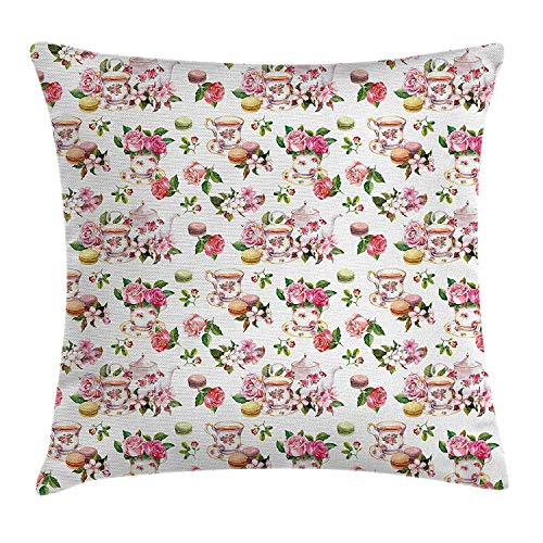 Twilight Rose Cup (Icndpshorts Vintage Throw Pillow Cushion Cover, Vintage Antique Old Retro Tea Time Must Have Pots Cups Roses Flowers and Leaves, Decorative Square Accent Pillow Case, 26 X 26 inches, Multicolor)