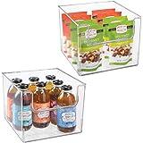mDesign bac de rangement pour frigo, étagère ou congélateur (lot de 2) – bac alimentaire avec grande ouverture en plastique s