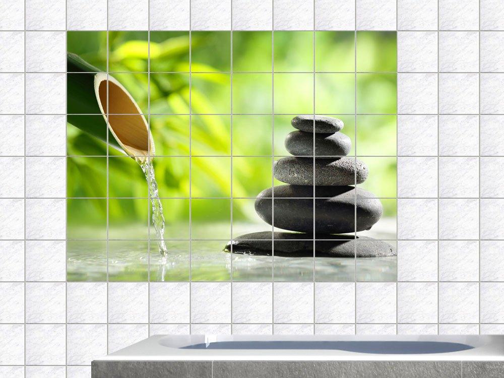 Graz Design 761739_20x25_50 Fliesenaufkleber Fliesen Folie Bad Küche  Fliesensticker Wellness Bambus Entspannung WC Badezimmer Fliesengröße  20x25cm (Anzahl ...