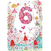 Greeting Card (PR2955) Girls Age 6 Birthday - Fairy Toadstool - Flittered Finish