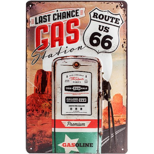 Nostalgic-Art 22215 US Highways - Route 66 Gas Station, Blechschild 20x30 cm (Metall-schilder Der Route 66)
