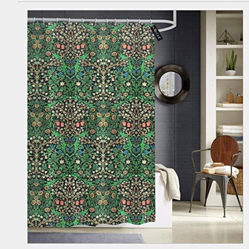 Sotyi-ltd William Morris Jacquobean Floral Duschvorhang mit 12 Haken, wasserfest, 182,9 x 182,9 cm