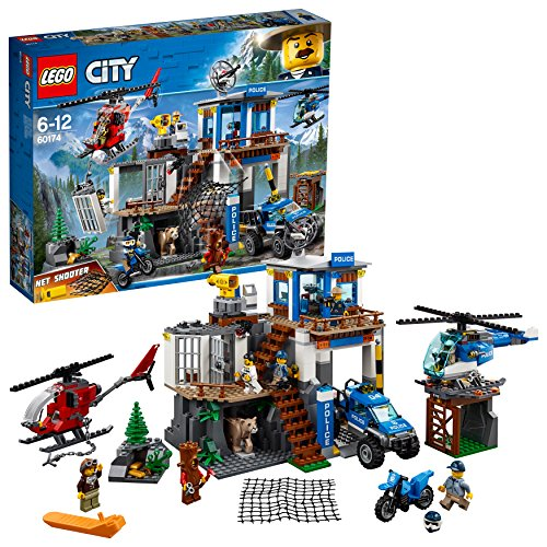 LEGO 60174 City Police Mountain Headquarters  Building Set, Toy Helicopter and 4x4 Car, Police Toys for Kids