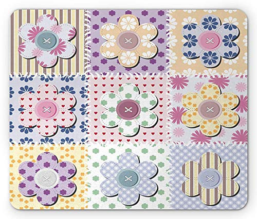 Drempad Gaming Mauspads Custom, Cabin Mouse Pad, Arts and Crafts Theme Handiwork Quilting Stitches Daisy Motifs Sewing Image Print, Standard Size Rectangle Non-Slip Rubber Mousepad, Multicolor
