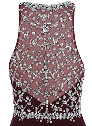 Bbonlinedress Robe de soirée et de bal ou de festival à traîne emperlée sans manches style classique en mousseline Lilas