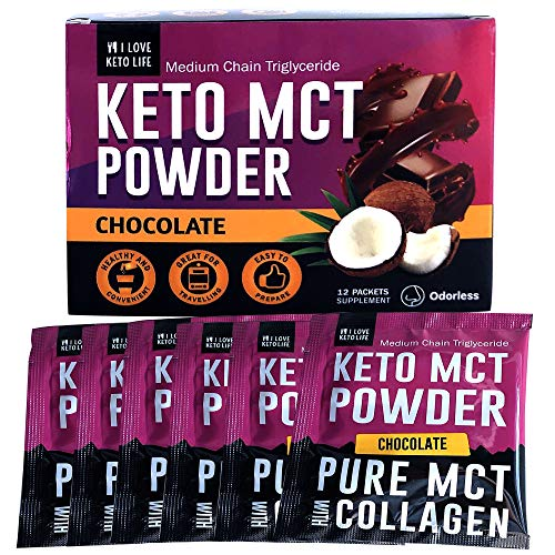 iLoveKetoLife MCT Oil Powder - Keto Chocolate Flavor with Collagen - Instant Protein Drink Supplement for Weight Loss, Burns Fat Fast Suppresses Appetite - 12 Sachets Berry Creamer
