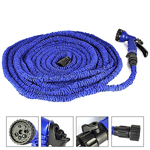 TechCode ® 100 Meter erweiterbar Flexible Gartenschlauch Rohr mit Spritzpistole für die Bewässerung von Pflanzen und Autowaschanlagen (100 FT, Blau)