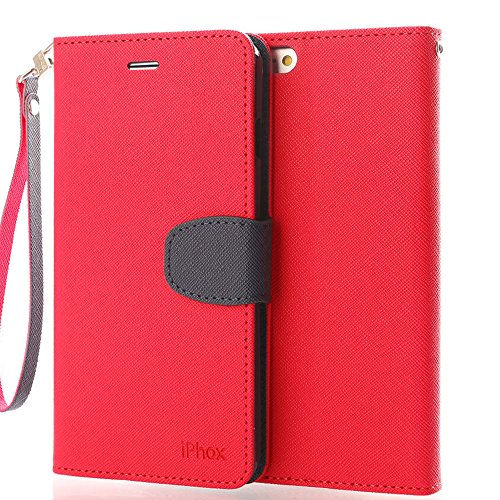 Price comparison product image iPhone 6S Leather Case,iPhone 6 Leather Case, IPHOX Premium Folio Leather Wallet Case with [Kickstand] [Card Slots] [Magnetic Closure] [Hand Strap] Flip Notebook Cover Case for iPhone 6/6S -Red/Blue