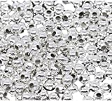1000Pcs 3MM Plated Round Ball Spacer Beads DIY Jewelry Making Findings - Silver