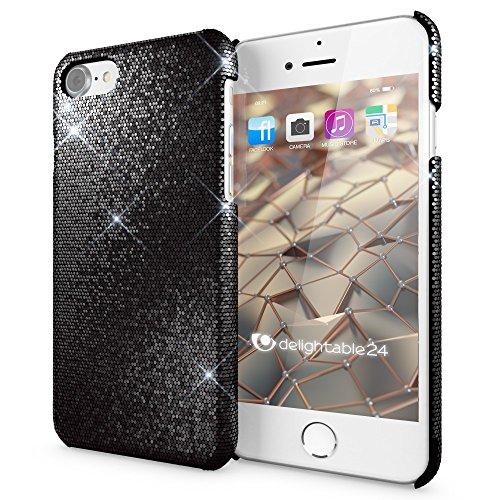 iPhone 8 / 7 Hülle Handyhülle von NICA, Glitzer Slim Hard-Case Back-Cover Schutzhülle, Handy-Tasche im Glitter Sparkle Design, Dünnes Bling Strass Etui Skin für Apple iPhone-7 / 8 Phone - Pink Schwarz