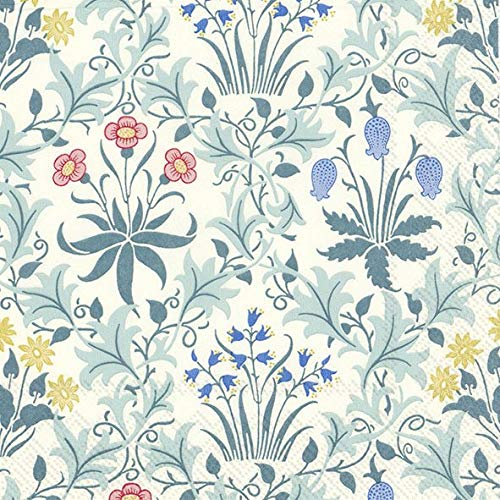 William Morris Papierservietten IHR Celandine (V&A) Türkis 20 Stück in Einer Packung 33 cm quadratisch -