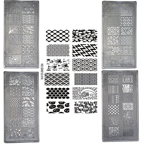 AIUIN 5 Stück Nagel Stempel Schablonen Nail Art Plates Stamping Platten Nagel Stamping Schablone Bildstempel (Style 2)