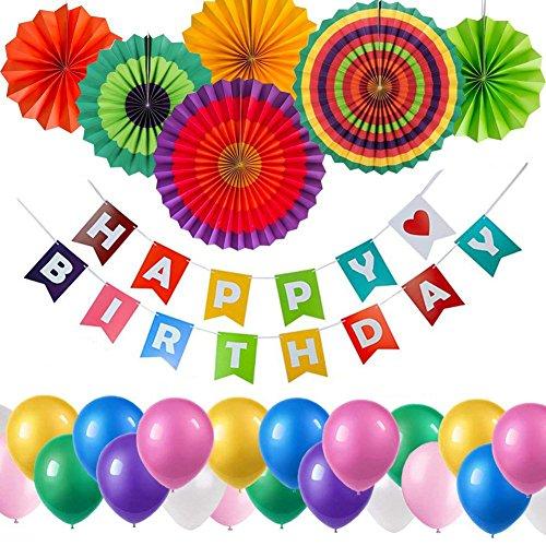 Yoart Geburtstag Dekorationen, Geburtstag Party Dekoration Lieferungen für Kinder 1pcs Alles Gute zum Geburtstag Banner, 6st Fiesta Papier Fans, 35st Latex Party Balloons bunt