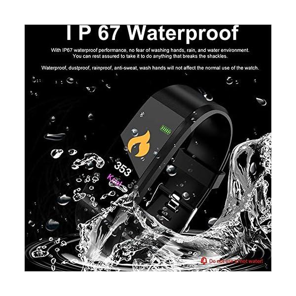 Fitness Tracker, reloj de pulsera de actividad con monitor de presión arterial IP67 resistente al agua con podómetro, contador de calorías y contador de pasos, regalo de cumpleaños para niños, mujeres, hombres 4