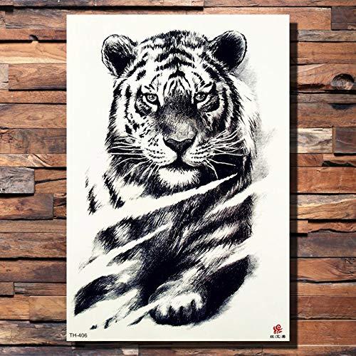 lijinjin Temporäre Tattoo-Aufkleber Hund Wolf Zähne Skorpion Tiger Temporäre Tätowierung Aufkleber Leopard Boy Monster Schwarz Tattoos Body Art Arm Wasserdicht Tatoo21X15Cm 6 Stück