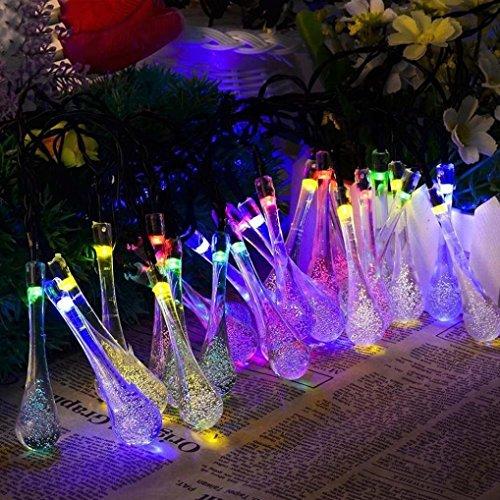 Trada LED Starry String Licht, Outdoor Garden Party 20 LED Regentropfen Teardrop Solarbetriebene String Fairy Lights für,Party,Garten,Weihnachten,Weihnachtsbaum Dekoration (Mehrfarbig) (Teardrop Tisch Bar)