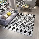 AILI Moderne warme Teppich Wohnzimmer Schlafzimmer schwarz und weiß Quadrat rechteckige Rutschfeste Matte 120 * 160 cm (Größe : 120 * 160cm-a)