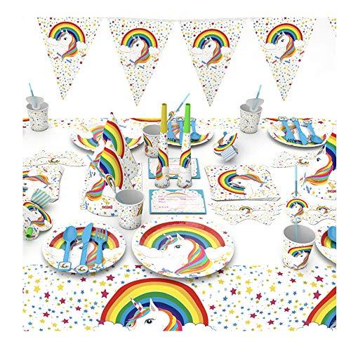 fParty Unicorn Party Supplies Set Geburtstag Dekorationen Geschirr Inklusive Teller, Tischdecken, Servietten, Becher für Thema-Partei-Serves