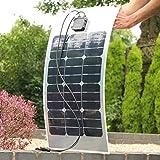 PK Green - Panel fotovoltaico semiflexible cargador de baterías, 40W, para caravanas o barcos