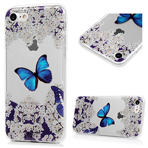 Lanveni iPhone 7 Hülle × 3, Handyhülle iPhone 7 Hülle Etui Protective Case Cover TPU Silikon Schutzhülle Bumper Handytasche TPU-Bumper Weiche Silikon Case mit Bunte Cover Design (blauer Schmetterling) blauer Schmetterling