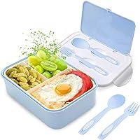 LAKIND Lunch Box, Bento Box Kids, Boite Bento 1400 ML avec 3 Compartiments et Couverts (Bleu)