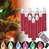 SZYSD 30Stk LED Rot Weihnachtskerzen Weihnachtsbeleuchtung Kerzen Lampen Kabellos RGB (30Stk RGB)