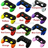 Generic 2 X Soft Silicone Rubber Half Skin Case Cover For Sony Playstation 4 Ps4 Ds4 Pro Slim Controller ( Case X 2 + Thumb Grip X 4 )(Black)