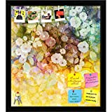 ArtzFolio White Flowers & Soft Color Leaves Printed Bulletin Board Notice Pin Board cum Black Framed Painting 16 x 17.9inch