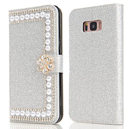 Samsung Galaxy S8 Funda Brillante Sparkling Glitter Cover Bling Bling Diamante Case Cover PU Cuero Shell con Flip Stand Case e Cierre Magnético Anti-Drop Cover Plata
