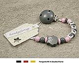 Baby SCHNULLERKETTE mit NAMEN | Schnullerhalter mit Wunschnamen - Mädchen & Jungen Motiv Eule in verschiendene Farben (grau)