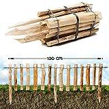 Natürlicher Steckzaun aus Holz in 3 Größen ( Haselnuss ) mit integrierten Pfosten · Rollboarder für Beetumrandung und Wegabgrenzung · 33 x 120 cm (Lattenabstand 7-9 cm)