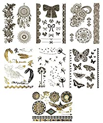 Temporary Black Mehndi Henna Tattoos - Over 75 Fake Tattoo Designs (7 Sheets), Terra Tattoos Marilyn Collection