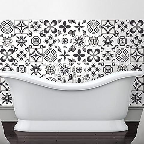 60 Stickers adhésifs carrelages   Sticker Autocollant Carrelage - Mosaïque carrelage mural salle de bain et cuisine   Carrelage adhésif - design rosaces nuances de gris - 10 x 10 cm - 60 pièces