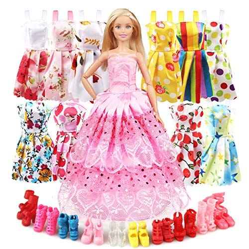 d4e9af059f Eligara Doll Clothes and Accessories for Doll, Baby Doll Clothes Dresses  Shoes Sets Include 10