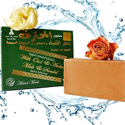 Grüne Bio-seife (Original Aleppo Dakka Kadima Premium Edition (Oud, Amber, Musk and Sandal))