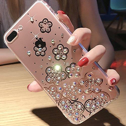 Cover iPhone 6S,Cover iPhone 6,Custodia iPhone 6S / iPhone 6 Cover,ikasus® Diamanti di cristallo lucidi Glitter Specchio di placcatura custodia per iPhone 6S / 6 Custodia Cover TPU paraurti in silicon Chiaro