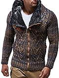 LEIF NELSON Herren Woll Strick-Jacke | Casual Strick-Hoodie Slim Fit | Moderner Männer Zip Strick-Cardigan Langarm mit Schalkragen | Das Beste in Kleidung Männer