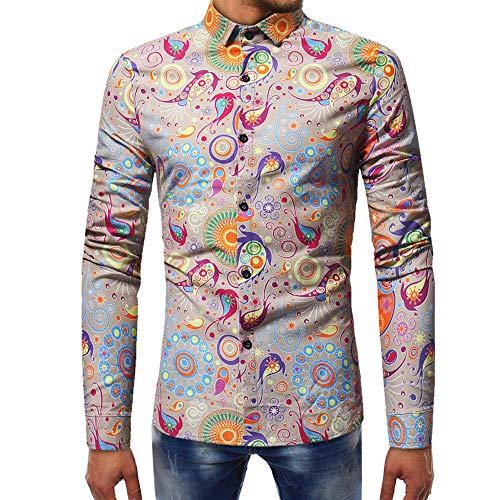 Blusa Estampada de Moda para Hombre Camisas de Manga Larga Casual...