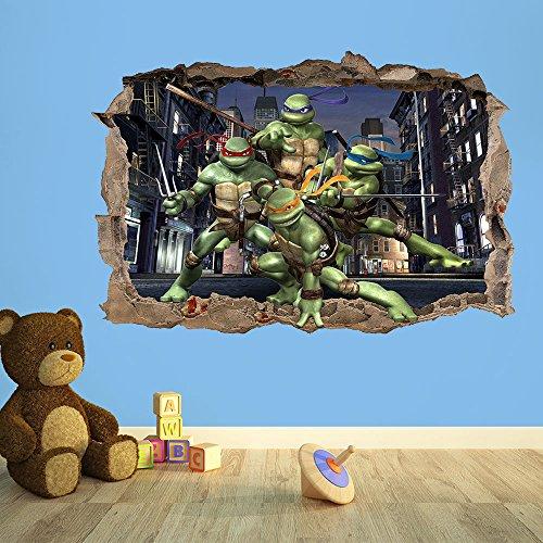 Wanddekoration 247 Teenage Mutant Ninja Turtles 3D-Wandaufkleber für Kinderzimmer, Jungen, Mädchen, 50 cm (B) x 35 cm (H)