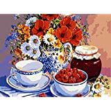 YXQSED Frameless, just Cancas: [Framless]Paint by Numbers Kits for Adults Children Seniors Junior Beginner Acrylics Diy oil Painting Kits - Linen material-flowers 12x16 Inch