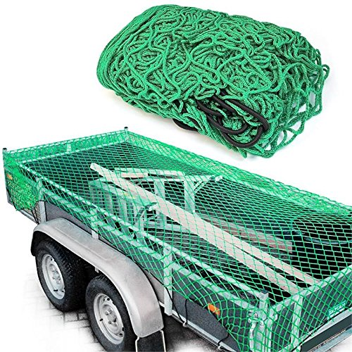 DWT-Germany Anhängernetz 200cm x 300cm - Gepäcknetz, zur Ladungssicherung grün - Containernetz, Sicherungsnetz, Ladungssicherungsnetz