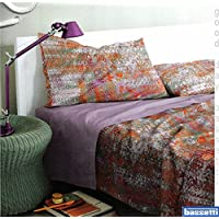 Completo sábanas/Colcha de matrimonio Around arancio-lilla Bassetti (sábana Colcha 240x 280, menos 175x 200, fundas de almohada 50x 80)