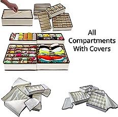 Sterling Storage Box/Drawer Organizer With Lid Cover For Innerwear, Clothing, Underwear, Bra, Socks, Tie, Etc. (Set Of 4)-Beige