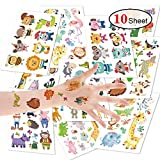 Aokebeey 100 STÜCKE Cartoon Tiere Tattoos Kinder Set, Tiger & Flammenvogel Temporäre Tattoos...