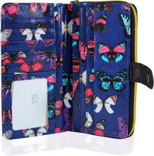 Solo KukuBird modello di farfalla portafogli commerciali e borse doppio scomparto Doppio Blu Scuro